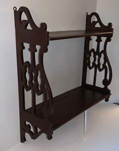 Vintage Solid Mahogany Display Wall Shelf Curio w/ Fretwork Sides & Plate Groove