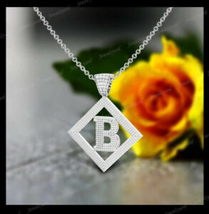 "Customize ""B Initial letter Pendant 2Ct Round Cut Diamond 14k White Gold Finish"
