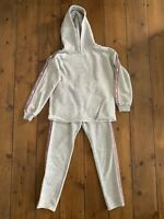 Girls Zara Age 10 Years Tracksuit Grey Side Tape 2 Piece