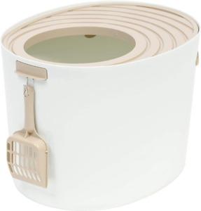 IRIS Medium Top Entry Cat Litter Box, White/Beige
