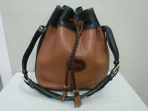 Vtg DOONEY & BOURKE Large Pebbled Teton Drawstring Bucket Handbag Tote Purse
