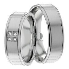 0.08Ctw Matching Wedding Band Set 14K White Gold 7mm Diamond Wedding Ring Set