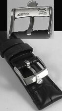 ROLEX TUDOR 19mm Black Leather band strap belt rubber bracelet buckle watch