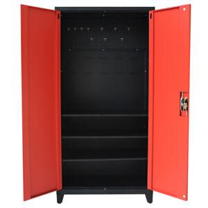 Metal Tool Cabinet Lockable Storage Cabinet Garage Shelves Pegboard 2 Door 180cm