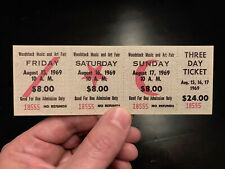 1969 WOODSTOCK FESTIVAL TICKET unused 3 day concert ticket #18555