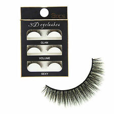 3Pairs/Pack Handmade 100% Real Mink 3D False Eyelashes Cross Thick Long Lashes