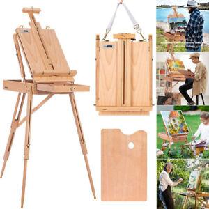 Adjustable Folding Art Artist Beechwood Tripod Paint Box Easel Stand w/ Display