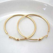 18k Yellow Gold Filled Earrings 50mm huge Hoop GF Charms Women's Fashion Jewelry