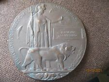 More details for ww1 bronze death plaque / penny to