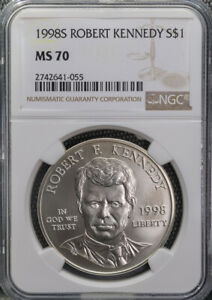 1998 S Robert Kennedy Commemorative Silver $1 NGC Perfect-Silky MS70 *3070