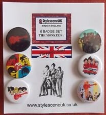 The Monkees (Set 1) 6 Collectors Button Badge Set. 60's Scene by StylesceneUK