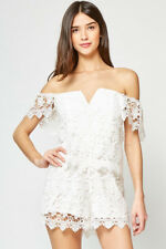 YUMI KIM 'Melody'~ White Lace Overlay Off-Shoulder Mini Party Dress M NEW $198