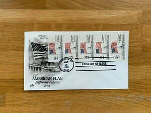 USA US 1985 FDC ART CRAFT COIL STAMP 22 CENT AMERICAN FLAG STARS & STRIPES