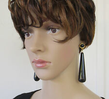 NWT Large Black Statement Drop Earrings KENNETH JAY LANE Clip-On ~ Stunning !!