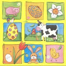 2 Serviettes en papier Vache & Cochon Decoupage Paper Napkins Pig & Cow