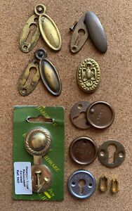Old Brass Escutcheon Vintage Key Hole Covers Small Job Lot