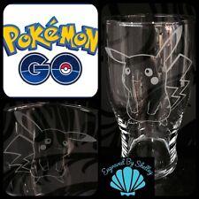 POKEMON GO Pint Glass! FREE Name Engraving Personalised Birthday Gift! Pikachu!
