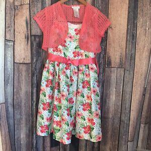 Bonnie Jean Girls Two Piece Dress Size 14- pink, flower