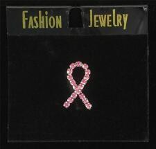 Pink Ribbon Crystal Ribbon in Silver Tac Pin