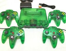 JUNGLE GREEN Nintendo 64 System Complete w/ 4 Matching N64 Controllers