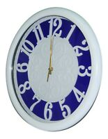 Large 35cm White & Blue Wall Clock Modern Design With Clear Numericals