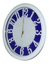 Groß 35cm Weiß & Blau Wanduhr Modern Design mit Klar Numericals