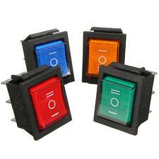 Waterproof LED illuminated 6Pins Mini O/F/O DPDT Rocker Switch Car Dashboard NEW