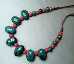 Ceramic Artisan Beaded Necklace Adjustable length Turquoise Red Oval Round
