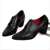 Solid Men's Pointed toe Lace Up oxford Leather cuban heel Formal Dress Shoes