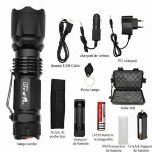 Lampe torche militaire Poche Rechargeable LED puissant de zoom 90000LM X800 T800