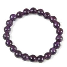 Bracelet en pierre naturelle perle d'améthyste de 8 mm, perles de gemme