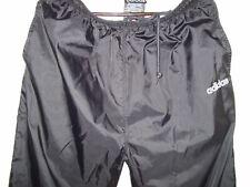 Vintage Adidas Men Black 100% Nylon Track Pants Joggers Pants Ankle Zip Size L