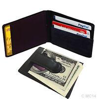 BLACK GENUINE LEATHER BIFOLD MONEY CLIP Credit Wallet Holder Metal ID Badge