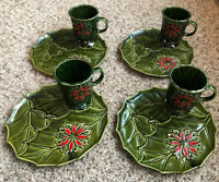 "Vintage Lot Of 4 Enesco Ceramic Christmas Poinsettia Holly 9"" Snack Set RARE"