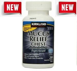 Kirkland Signature Mucus Relief Tablets, 200 Tablets Free Shipping NEW