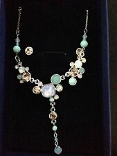 Swarovski Gisele Pink and Green necklace and earring set NEW in box
