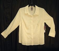 OFF-WHITE BUTTON FRONT PUCKER SHIMMER STRETCH TOP SHIRT BLOUSE~16/18W~1X~0X~NEW