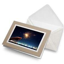 Greetings Card (Biege) - Pretty Sparkler New Year Celebrate  #24521