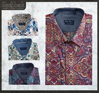 Men's Retro Floral Shirt Fitted Stylish Cotton Long Sleeve Vintage Printed XIII