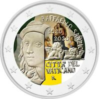 2 Euro Gedenkmünze Vatikan 2020 coloriert Farbe Farbmünze Raffaelo 2