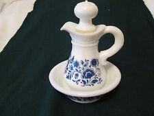 Vintage Avon Milk Glass Bowl and Pitcher Blue Floral Pattern