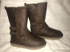 UGG KAILA Girls Brown Leather Lamb Fur Boots Sz 4