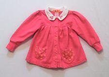 """Gymboree """"Double Dutch"""" Vintage Bright Pink Fleece LS Pleated Dress, XS (9-18 m)"""