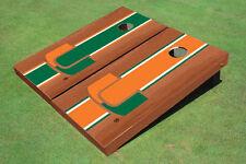 University Of Miami Rosewood Alternating Long Stripe Custom Cornhole Board
