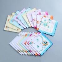 20x Lot Women Mens Vintage Cotton Quadrate Hankies Floral Handkerchief Decor