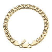 18K Yellow Gold GL Med Curb Solid Mens Women's Unisex Bracelet with Clasp 18cm