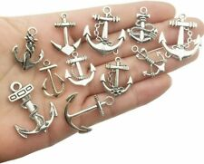 8 Anchor Charms Antiqued Silver Ocean Pendants Nautical Assorted Fishing Hook