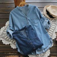 ZANZEA Women Autumn Buttons V Neck Long Sleeve Tops Blouse T-Shirt Pullover Plus