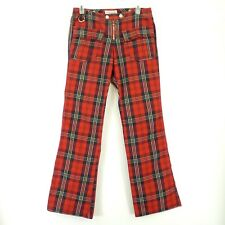 Tommy Jeans Womens Tartan Plaid Flare Pants Snap Adjustable Waistband Zipper