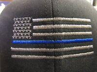 Thin blue line ball cap subdued USA flag Flexfit new police law enforcement hat